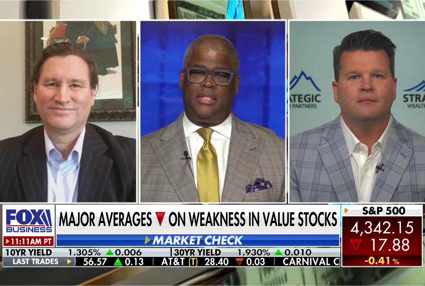 Major Averages Lower on Weakness In Value Stocks